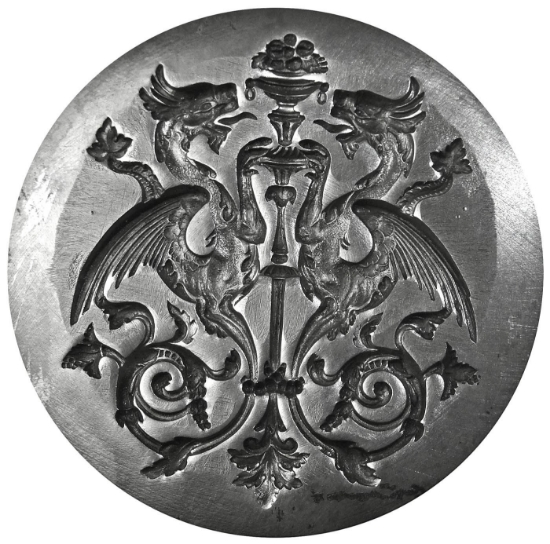 Picture of Silver Stamping Twin Dragon Crest