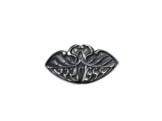 Picture of **DISCONTINUED** Bell-flower Nouveau Barrette Silver Stamping