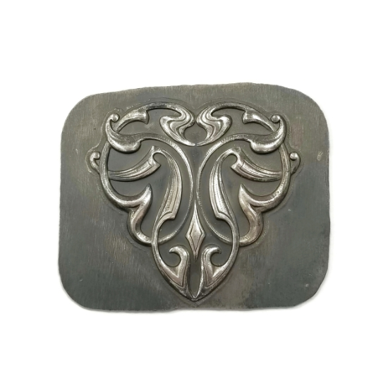 Picture of Curvilinear Nouveau Shield Silver Stamping