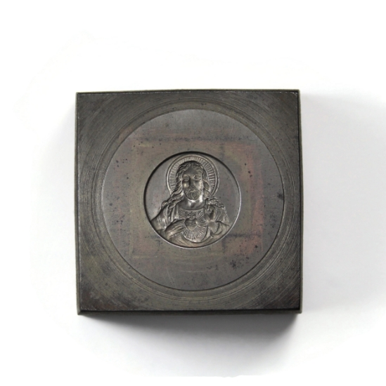 Picture of Christ and His Sacred Heart Silver Stamping